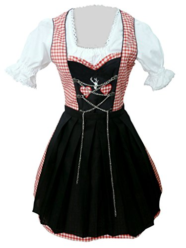 Damen-Dirndl Di04 Mini Gr.38, 3 TLG. Trachten-Kleid rot-schwarz mit Dirndel-Bluse u. -Schürze für Oktober-Fest
