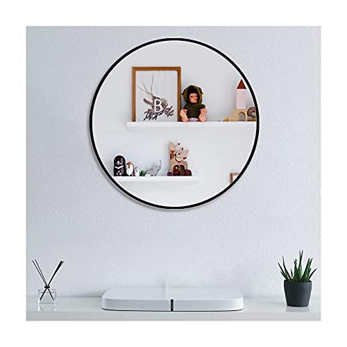 Muzilife Miroir Rond en Verre, Diamètre de 60cm HD Miroir Mural avec Cadre en Métal pour Vanité, Salle de Bain ou Chambre (Noir)
