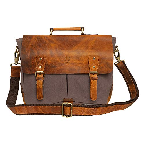 Rustic Town 15 inch Leather Canvas Laptop Messenger Briefcase Satchel Bag