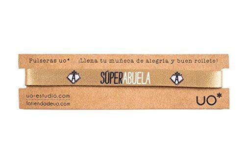UO-Pulsera Estampado Súper Abuela, Color Dorado