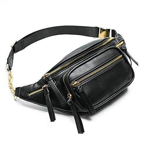 miss fong Leather Fanny pack, Belt Bag for Women, Waist Bag With 9 Pockets (Black)