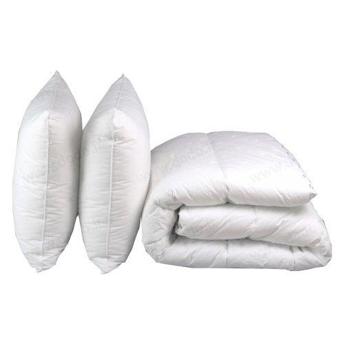 Espritzen - Pack Hiver couette chaude 100% Coton 220x240 cm + 2 oreillers 65x65 cm - Blanc