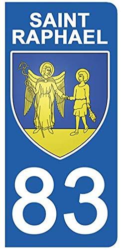 DECO-IDEES 2 Stickers pour Plaque d'immatriculation, 83 Var, Saint Raphaël- Stickers Garanti 5 Ans