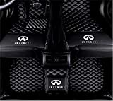 Custom Fit All-Weather 3D Covered XPE Leather Car Carpet FloorLiner Floor Mats for Infiniti QX50 QX56 QX60 QX70 QX80 Class with Logo. (Black, Infiniti G25 G35 G37 2 Door Coupe)