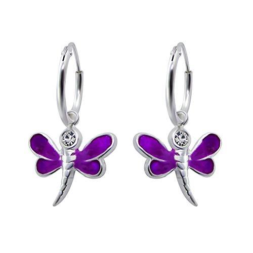 JAYARE Ohrringe Mädchen Creole Libelle lila 925 Sterling Silber Glitzer-Kristall 24 x 14 mm Creolen Kinder Mädchenohrringe Kinderohrringe