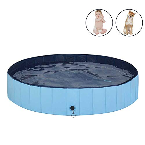 MorTime Foldable Dog Pool Portable Pet Bath Tub Large Indoor & Outdoor Collapsible Bathing Tub for...