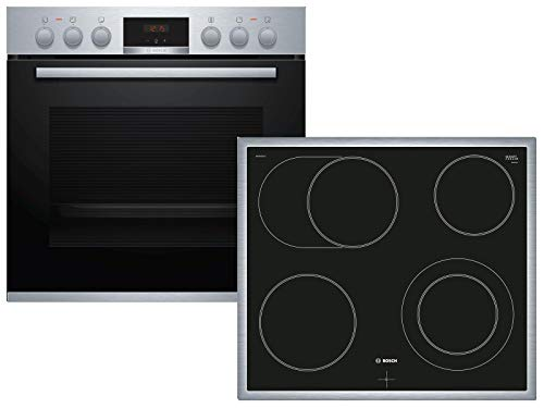 Bosch HND411LR61 Herd-Kochfeld-Kombination (Einbau) / A / 59,4 cm / Edelstahl / Klapptür / LED-Display / GranitEmail / Elektrokochfeld (herdgesteuert) / 4 HighSpeed Kochzonen / Umlaufender Rahmen