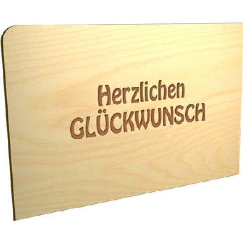 Modern times carte postale humoristique en bois 'herzlichen glückwunsch'