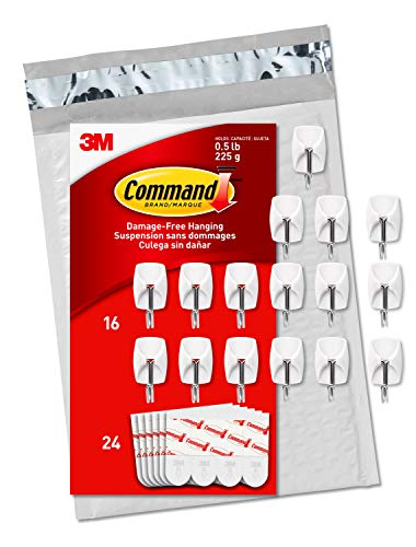 Command Small Wire Hooks, 16 Hooks, 24 Strips, Organize Damage-Free