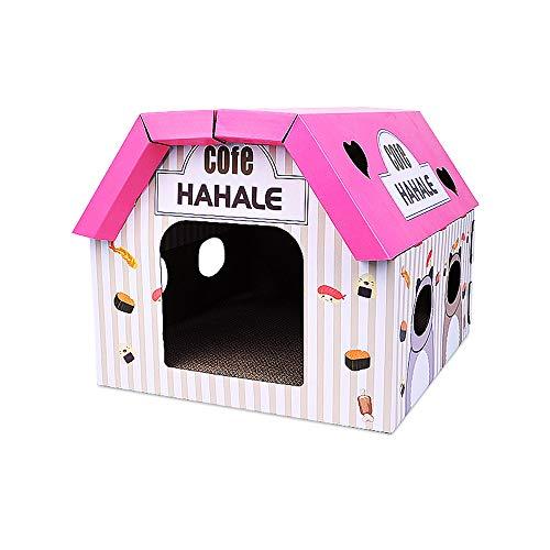 GXHGRASS, kattenbak van golfkarton, kattenhuis met kattenklep, voor binnen, recyclebaar kartonhuis met grote opbergruimte, semi-gesloten ontwerp voor huisdieren tot 6 kg