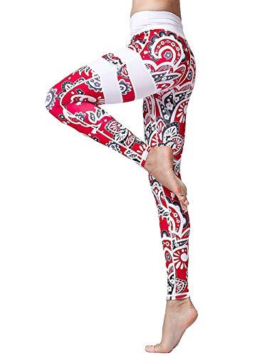 FLYILY Cintura Alta Elásticos Pantalones de Yoga Para Mujer Leggings para Correr Entrenamiento Fitness(Red,S)