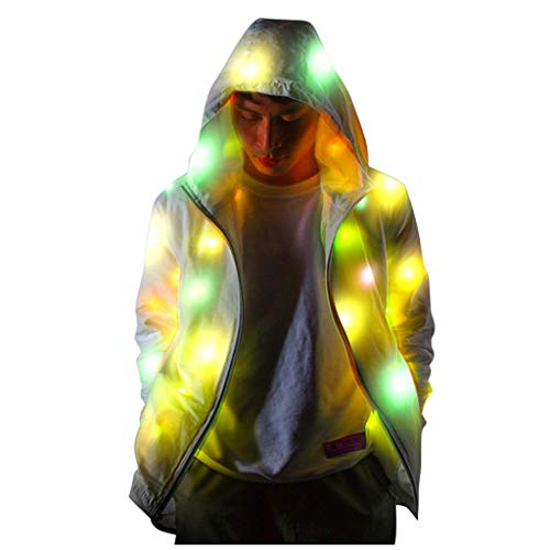 Geilisungren Unisex Bunt Leuchtende Jacke LED Light up Kostüm Nachtclub Bar Bühnenperformance Party Mantel mit Kapuze Reißverschluss Taschen Outwear für Herren und Damen