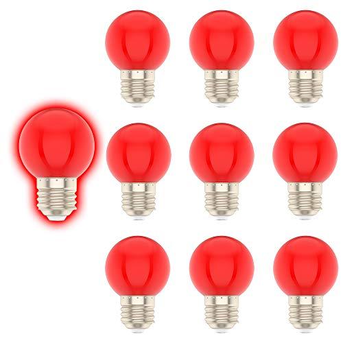E27 G45 1W Farbige Glühbirne,Rot,Geeignet für Weihnachtsdekoration, Gartendekoration, etc-10er Pack