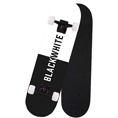 KHSKX Skateboard per Adulti, Skateboard Professionale, tavola in Acero a 7 Strati con Doppio bilanciere, Skateboard per Principianti-Action Brush Street Style-Bianco e Nero