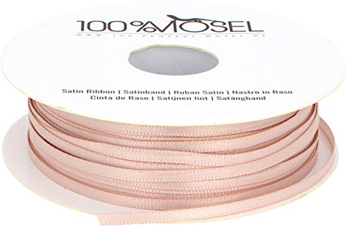 100%Mosel Cinta de raso rosa (3 mm x 100 m), cinta de satén mate brillante, elegante para decorar y manualidades, envolver regalos especiales, bodas, bautizos, etc.