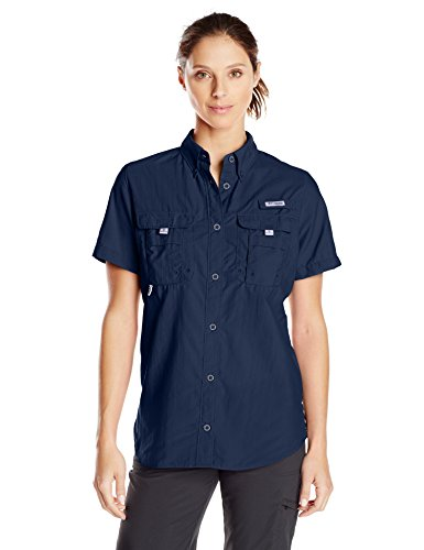 Columbia Women's Bahama Short Sleeve Shirt, Collegiate Navy, X-Large
