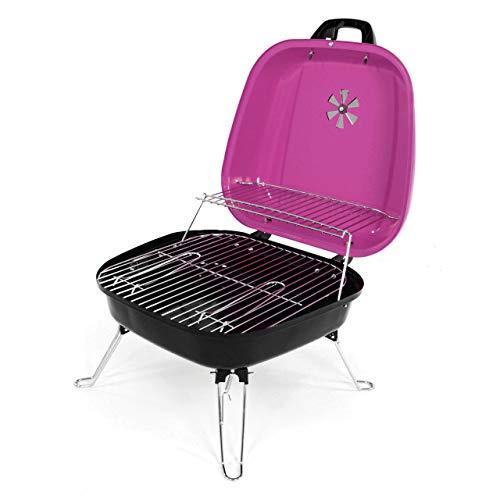 Lenox Mini Koffer-Grill Holzkohlegrill Minigrill für Garten Camping Terrasse Festival Picknick Party BBQ Barbecue 34 x 36 cm Grillfläche pink