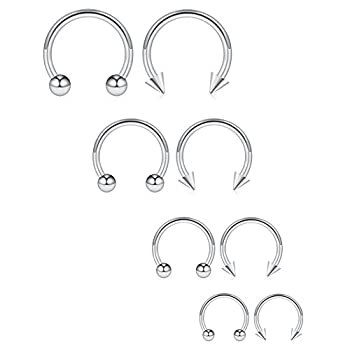 Ruifan 8PCS Surgical Steel CBR Nose Septum Horseshoe Earring Eyebrow Tongue Lip Piercing Ring with Balls & Spikes 16G 6-12mm - Silver