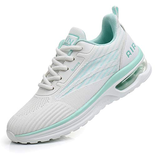 Axcone Womens Tennis Shoes for Athletic Running Gym Cheerleaders Casual Breathable Workout Sport Nurse Fitness Jogging Lightweight Air Cushion Stylish Fashion Sneakers White/Green38
