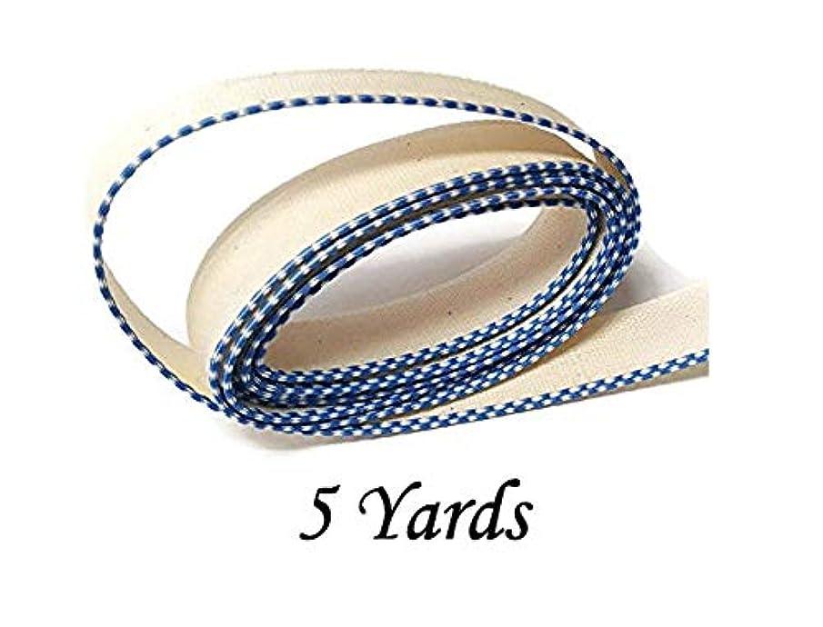 FimBand Book Binding Headbands/Endbands - White/Royal Blue - 5 Yards (180 inches) - Medium Cotton - 5/8