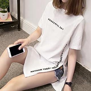 Wxcgbdx Womens T Shirts, Large Size Printed Long T-shirt Women's Loose Slit Women's Blouse Cotton Short-sleeved Women (Col...