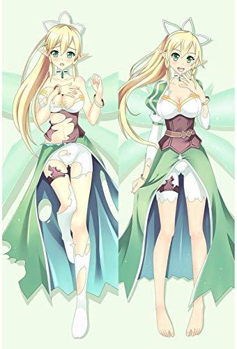 Personajes de anime Funda de almohada Abrazando la funda de almohada del cuerpo, Arte de la espada en línea: Kirigaya Sugua Anime Bonita niña de 2 caras Patrón de 2 camas Piel de durazno 2WT Lanzamien
