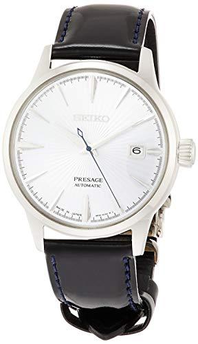[セイコーウォッチ] 腕時計 プレザージュ アイスブルー文字盤 ボックス型ハードレックス シースルーバック ネイビーカーフバンド SARY125 メンズ ブルー