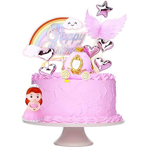 FANDE Tortendeko Geburtstag, Cake Topper Tortendekoration kuchendeko, Mädchen Geburtstag Kuchendeko Prinzessin, Kürbiswagen, Engel's Flügel, Wolken, für Mädchen Frauen Dame