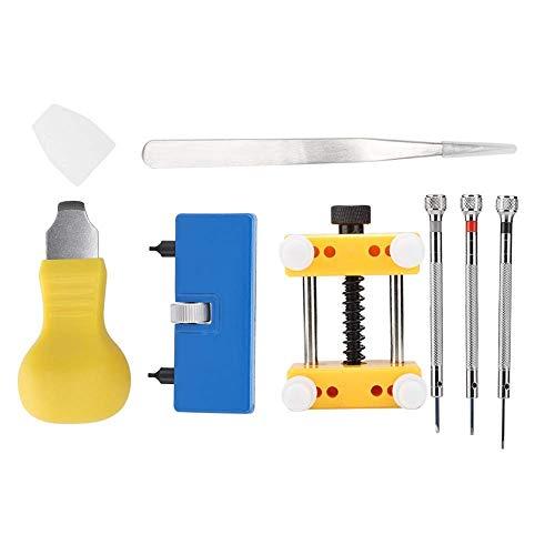 ADSE Herramienta de reparación de Relojes, 7 Piezas Kit de Herramientas de reparación de Relojes para la Apertura de la Caja del Reloj Extractor de Banda Cambio de batería