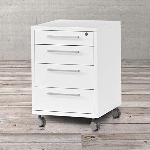 Tvilum Cassettiera scrivania Bianca da Ufficio con Ruote e 4 cassetti - cassetto Superiore con Chiusura A Chiave L48 H68 P49