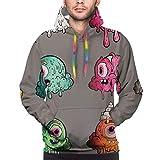 Sudadera con capucha para hombre 3d Varios Puff Monster colorido con bolsillos