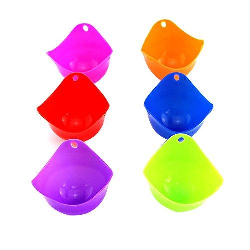 Silicone Egg Poacher Cups - Set De 6 Cuisson Antiadhésive BPA Cuisson Parfaite Des Œufs Pochés Micro-Ondes Ou Cuisinière À Oeufs (Violet, Rouge, Bleu, Orange, Rose Rouge, Vert)