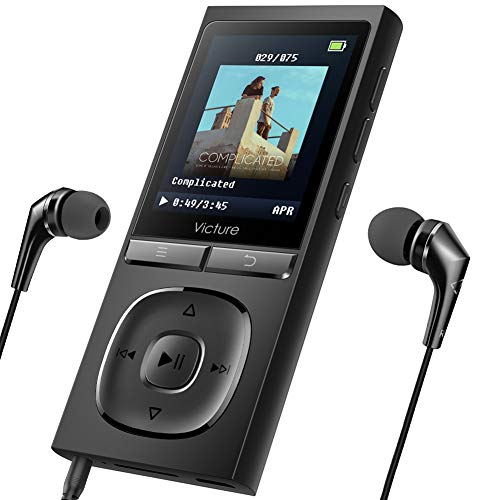 Victure MP3 Player 100 Stunden Standby-Zeit Portable Verlustfreien Klang Musik Player 8GB-Speicher Erweiterbar auf bis zu 128 GB mit Kopfhörer 1.8TFT-FM Radio Voice Recorder