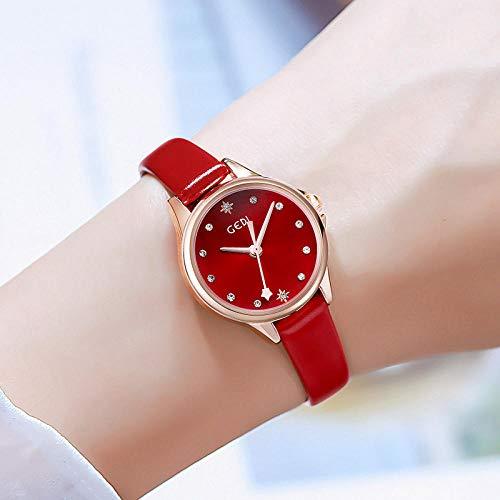 Powzz ornament Armbanduhren Trendy Gürtel Damenuhr Mode Einfache Kleine Frische Und wasserdichte Studentenuhr-E