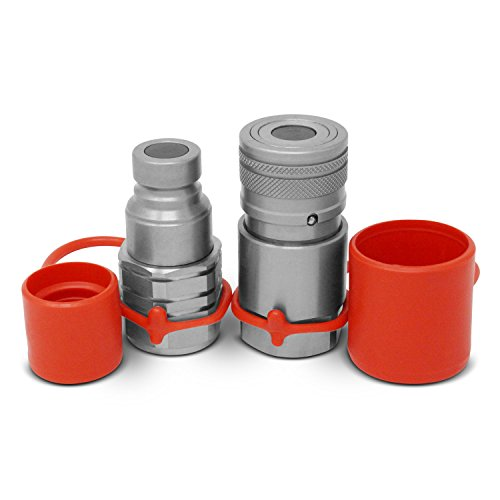 """3/4"""" NPT Skid Steer Flat Face Hydraulic Quick Connect Couplers/Couplings Set w/Dust Caps"""