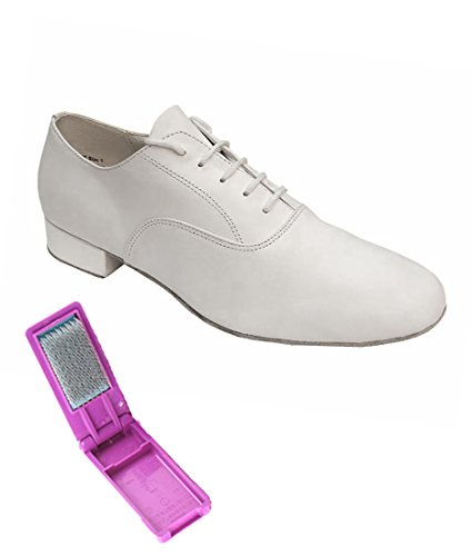 Very Fine Ballroom Latin Tango Salsa Dance Shoes for Men - 919101-1 Inch Heel + Foldable Shoe Brush Bundle-White Leather - 10.5