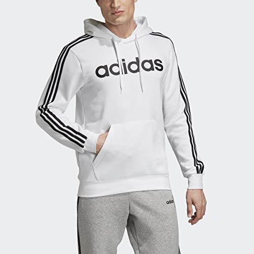 adidas Essentials - Felpa con Cappuccio in Pile a 3 Strisce, Uomo, Felpa, S1954MC236FL, Bianco/Nero, S