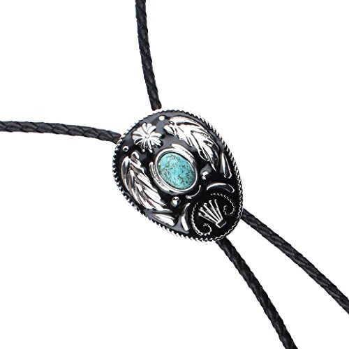 Sharplace 1Pcs Cravate Homme en Cuir PU Désuet Turquoise Naturel Western Cowboy Bolo