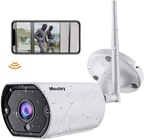 Cámara IP Exterior, Camara IP WiFi 1080p, Cámara Vigilancia Exterior WiFi Visión Nocturna Audio de 2 Vías Detección de Movimiento Monitorización Remota vía PC/Smartphone/Tableta