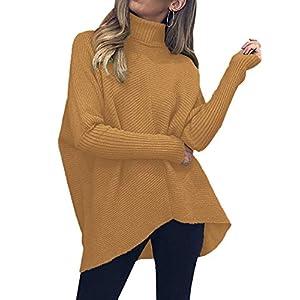 Women's Turtleneck Long Sleeve Sweater Irregular Hem Casual Pullover ...