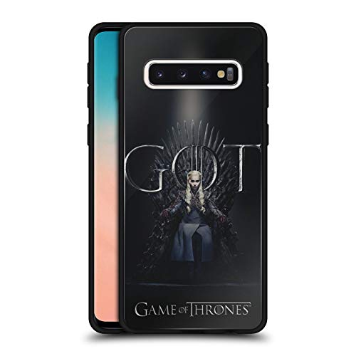 Head Case Designs Officially Licensed HBO Game of Thrones Daenerys Targaryen Season 8 for The Throne 1 Black Hybrid Glass Back Case Compatible with Samsung Galaxy S10