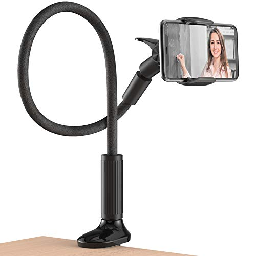 Gooseneck Bed Phone Holder Mount, Flexible Arm Cell Phone Stand for Desk, Headboard Lazy Bracket Clamp Phone Mount, Compatible with iPhone 12 11 Pro XS Max XR 8 7 6 Plus and 4.0-6.5