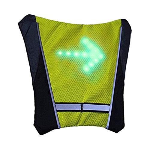 TXYFYP LED Intermitente Chaleco Reflectante, Bicicleta Impermeable Mochila con Control Remoto Carga USB Direction Indicador para Noche Ciclismo - Amarillo, Free Size