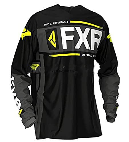Camiseta MTV Barata, Camiseta de Enduro MTB Hombres,Jersey de Ciclismo de Motocross de Manga Larga Negra, Camiseta de Bicicleta de montaña, Ropa de Ciclismo 3XL