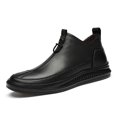 MING-BIN Zapatos cómodos Botas para Hombres con Cremallera Interna Puntera Redonda de Punta Lisa Baja Tapa Pull Grifo de Metal decoración Gruesa Caucho Suela de Cuero Genuino Moda