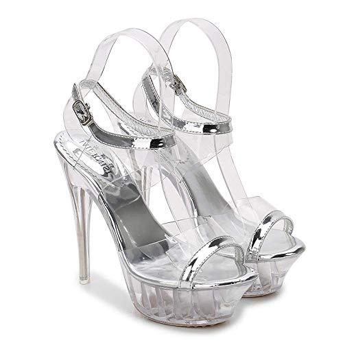 Cómodo Transparente sandalias Sexy Dedos de los pies asomando Estilete Tacones altos verano metal Hebilla de tobillo meseta plataforma Bomba liso Antideslizante Vestido Zapatos de m-Transparent||38