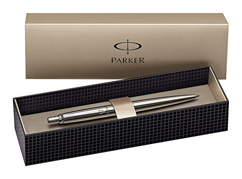Parker S0705560 Penna a sfera Linea Jotter Premium, pulsante, Grigio (Stainless Steel Chrome Trim)