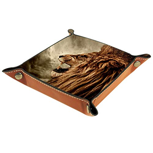 Caja de almacenamiento pequeña, bandeja de valet para hombre,León animal ,Organizador de cuero para llaves de caja de monedas