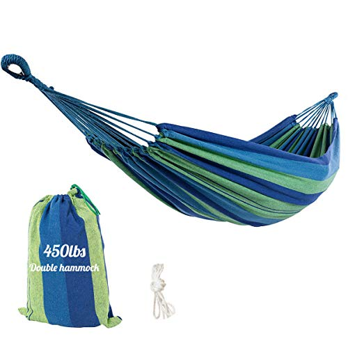 LEADALLWAY │Double Cotton Hammock Swing Bed│Two Person Camping Hammock W/Carry Bag for Indoor and Outdoor Patio Porch,Garden Backyard,Traveling