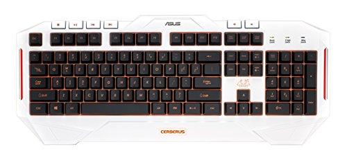 Asus Cerberus Artic Tastiera USB Gaming, Retroilluminata LED Multicolore Bianca [Layout Italiano]